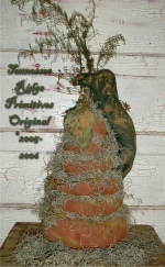 Primitive grungy Fall Stacking Pumpkins & Crow E-pattern