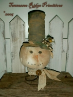 Primitive Dirty Grungy Snowman Head Make Do E-pattern