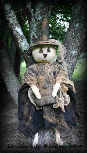 Primitive Grungy Halloween White Witch Doll With Black Cat Pattern